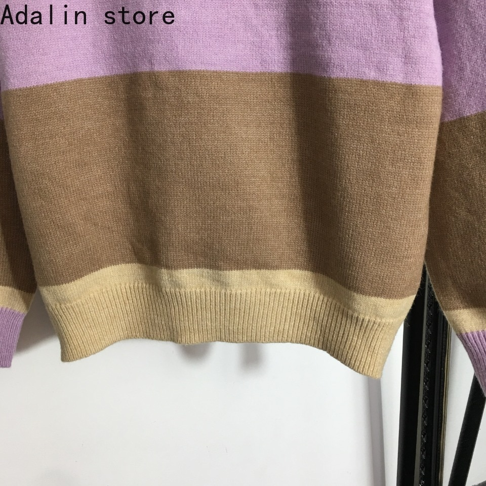2021 high quality autumn new fashion women's bear doll embroidery letter long sleeve Pullover Sweater stripe contrast sweater enlarge