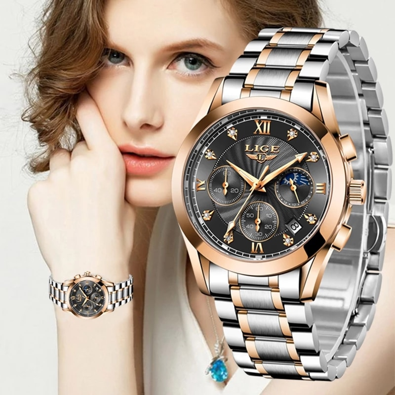 LIGE 2021 New Fashion Watch Women Watches Ladies Creative Steel Women Bracelet Watches Female Waterp