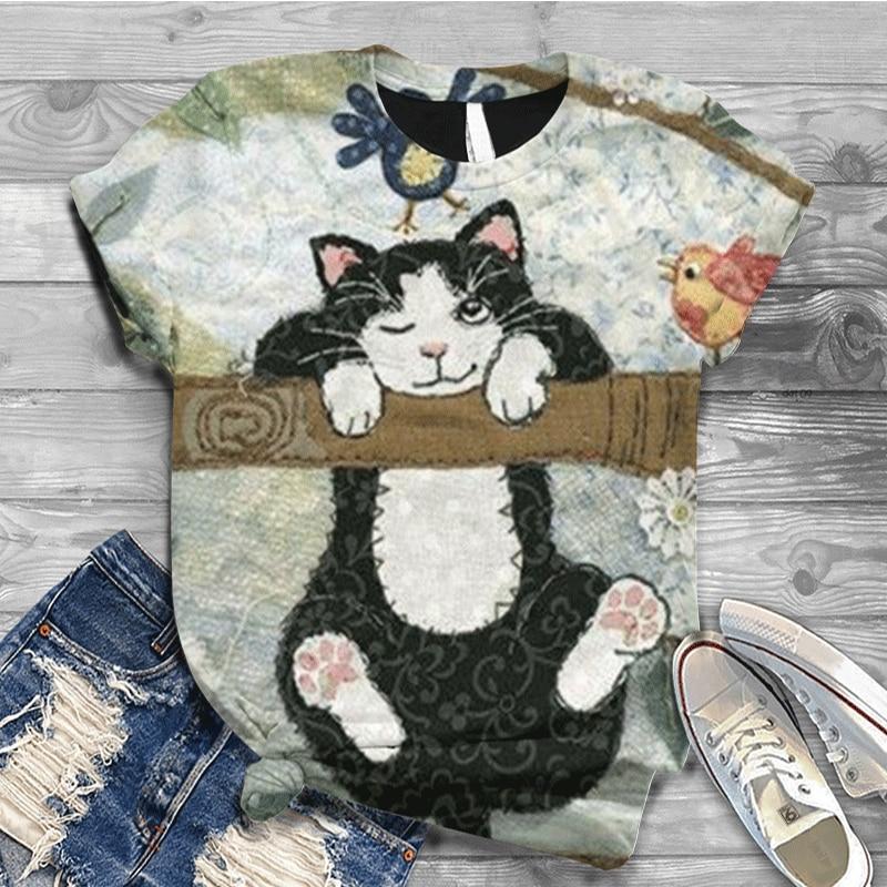 Plus Size S-5XL T Shirt Digital 3D Cat Rose Printed T-Shirt Women O Neck Short Sleeve Graphic Shirt Women Harajuku Tops  - buy with discount