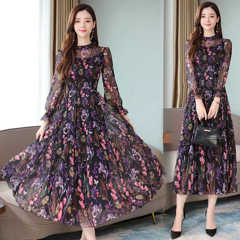 Floral vestido de gasa de las mujeres 2020 versión coreana del otoño nuevo cuello redondo de moda impresión larga sección de manga larga vestido de B150