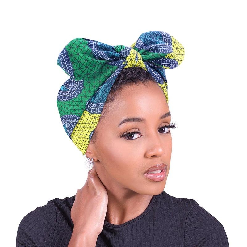 Fashion African Pattern DIY Bow Stretch Headbands Women Headwrap Turban Headwear Bandage Hairbands Bandana Wide Hai