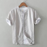 spring summer new mens cotton and linen shirt stand up collar casual cotton and linen short sleeved mens shirt