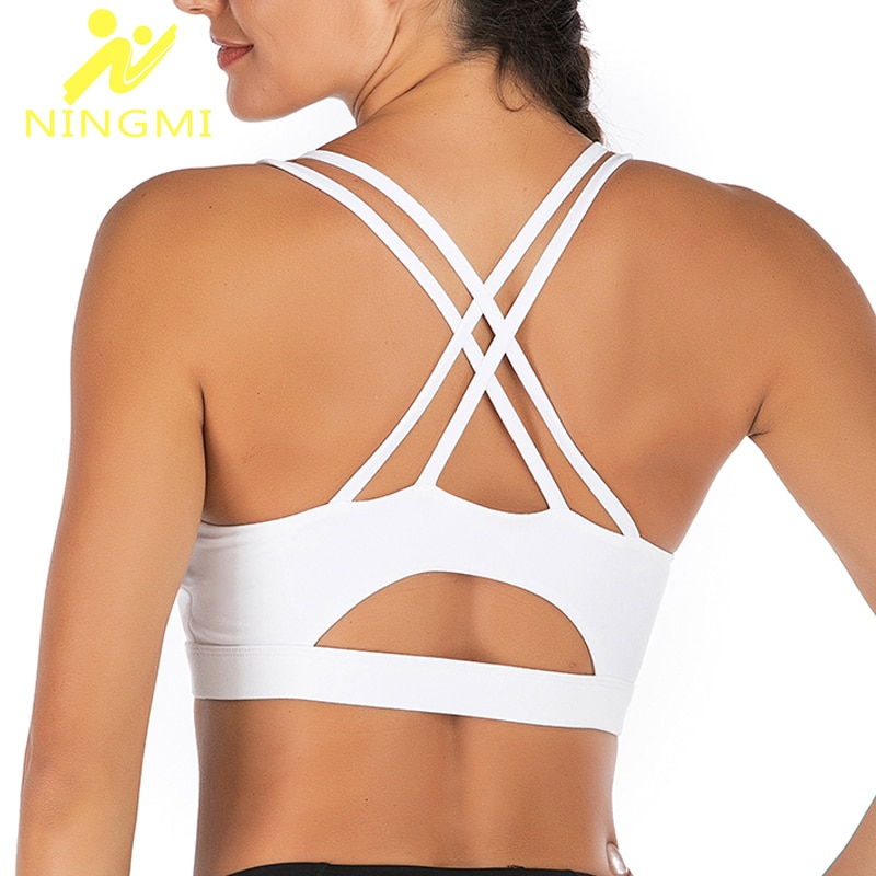 NINGMI Women Sports Bra Tank Top Breathable Fitness Running Vest Yoga Bras Seamless Sexy Underwear G