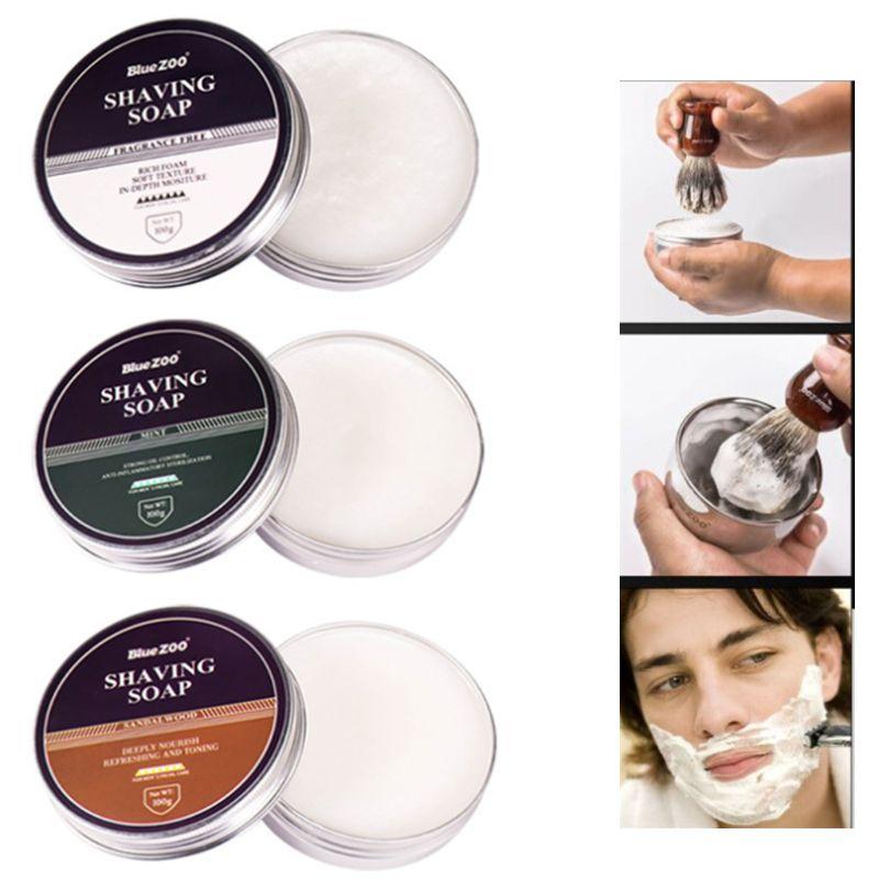 100g Men Shaving Soap Epilator Barber Shop Mustache Beard Hair Removal Foam Cream Nourishing Refreshing Oil Control Travel Porta