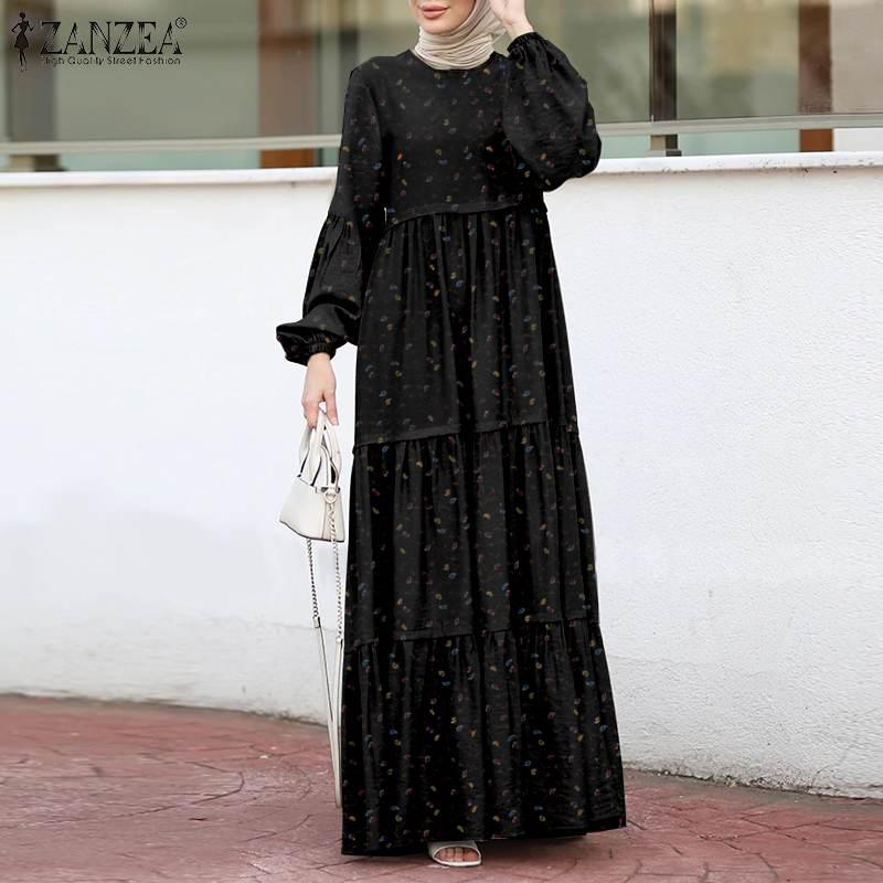 المرأة مسلم فستان الشمس أنيقة طباعة فستان مكشكش الإناث الطبقات المطبوعة رداء ZANZEA عادية نفخة كم ماكسي Vesitdos