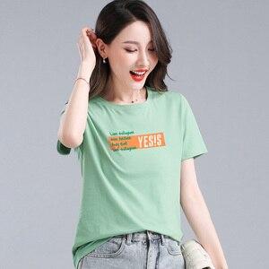 Women's T-shirt 2021 Summer New T-shirt Women's Wild Cotton Crop Top Korean Loose Round Neck Oversized T-shirt Women's Top