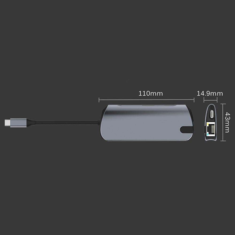 USBC a Rj45 HDMI USB 3,0 tipo C puerto de carga 8 en 1 Hub Gigabit Ethernet Lan 4K para mac libro Pro Thunderbolt 3 USB-C cargador