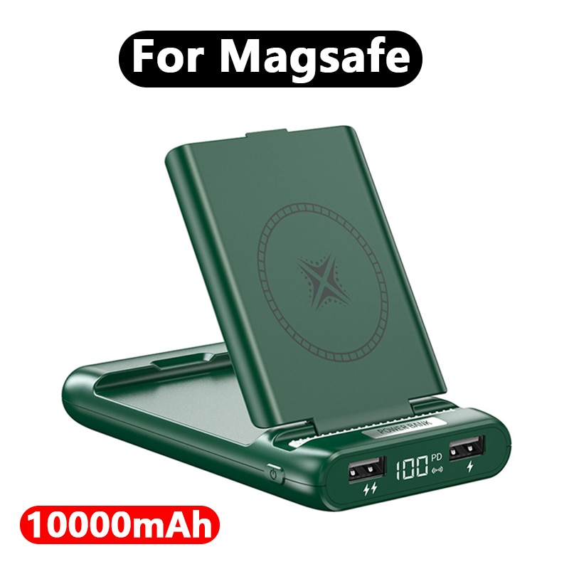 Portable 10000mAh Magnetic Wireless powerbank For apple magsafe charger External auxiliary battery For iphone12promax Power Bank