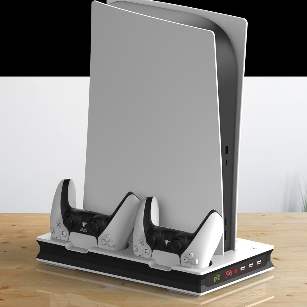 PS5 لعبة المضيف متعددة الوظائف التبريد قوس مروحة قاعدة PS5 مروحة التبريد مقعد شحن PS5 مقبض مقعد وحدة التحكم مروحة التبريد قوس