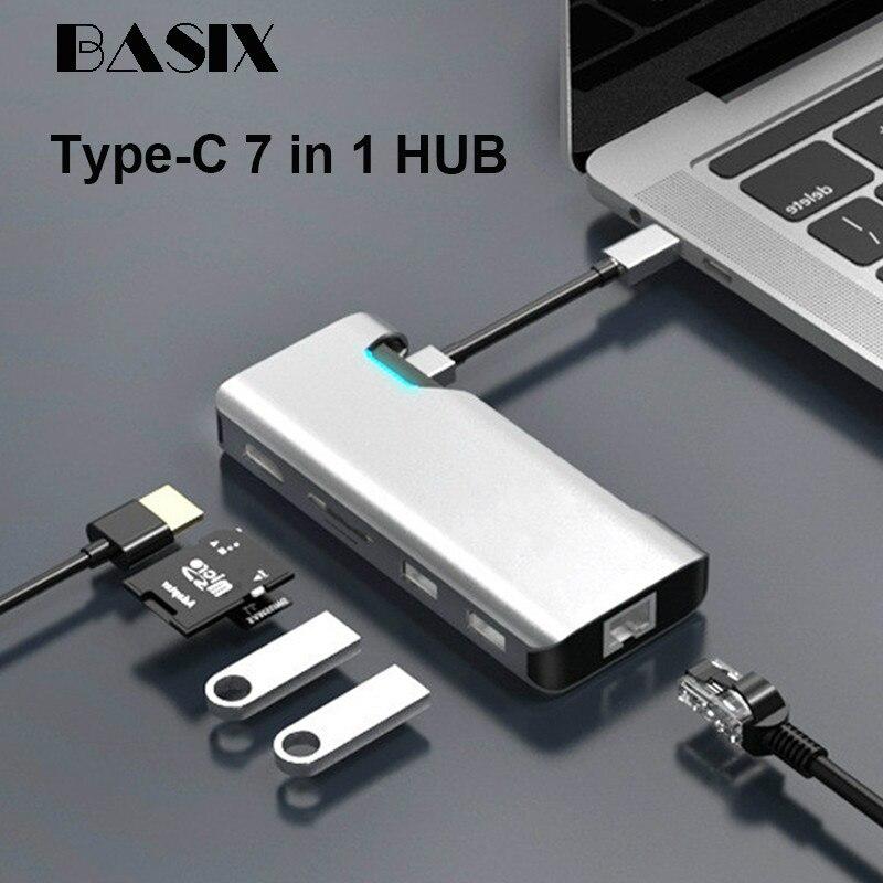 محول من النوع C إلى Hdmi usb 3.0 /PD سريع الشحن/بطاقة شبكة RJ45 جيجابت/بطاقة SD/قارئ بطاقة TF لهاتف Huawei Mate 30 P40 Pro