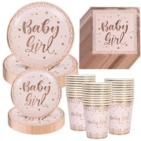 new baby girl rose gold tableware for commemorating the girls first birthday party decoration baby shower disposable dishes cup