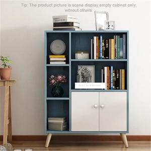 New Modern Simple Bookcase Nordic Style Indoor Floor Storage Five Grid Cabinet Double Door With Foot Combination Storage Cabinet