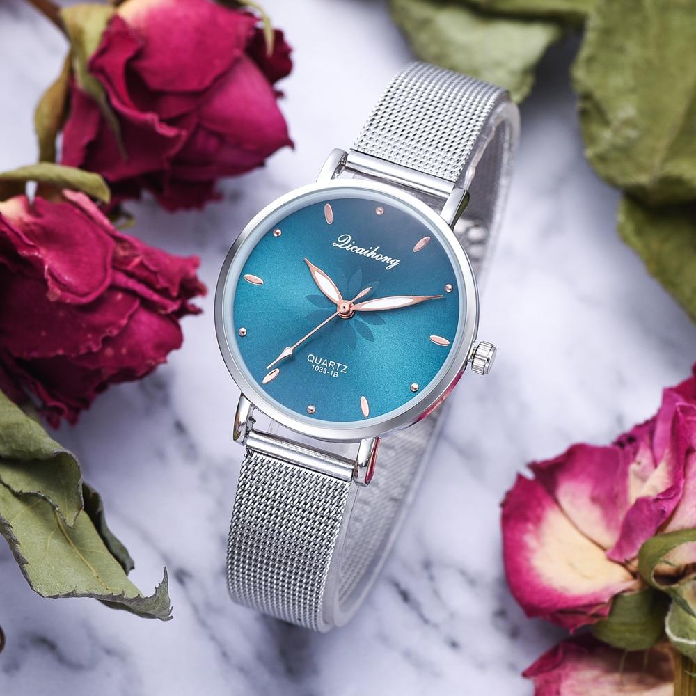 Luxury Silver Popular Pink Dial Flowers Metal Ladies Bracelet Quartz Clock Fashion Wrist Watch 2019 Top enlarge
