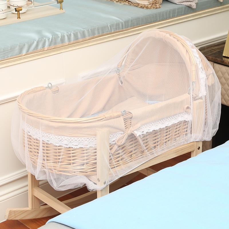 Rattan Cradle Wooden Newborn Baby Crib Bed Mosquito Baby Sleeping Basket Portable Trolley Baby Cot Bed Nursery Baby Bassinet enlarge