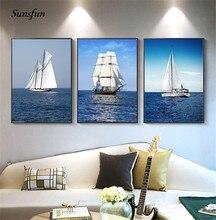 Sunsfun Nordic Landschaft Leinwand Malerei Die Sea Wall art Sky Segelboot Poster und Drucke Bilder für Wohnzimmer Wohnkultur