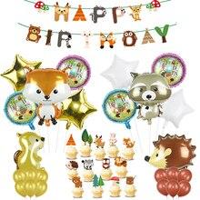 1 Juego de globo metalizado de animales del bosque 10 pulgadas globo de látex zorro erizo animal Fiesta Temática chico cumpleaños globo de aire decoración para fiesta de bienvenida de bebé