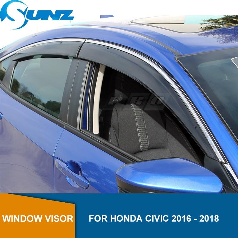Side Window Deflectors For Honda Civic 2016 2017 2018 2019 Sedan / Hatchback Window Visor indow Sun Shield Rain Guard SUNZ