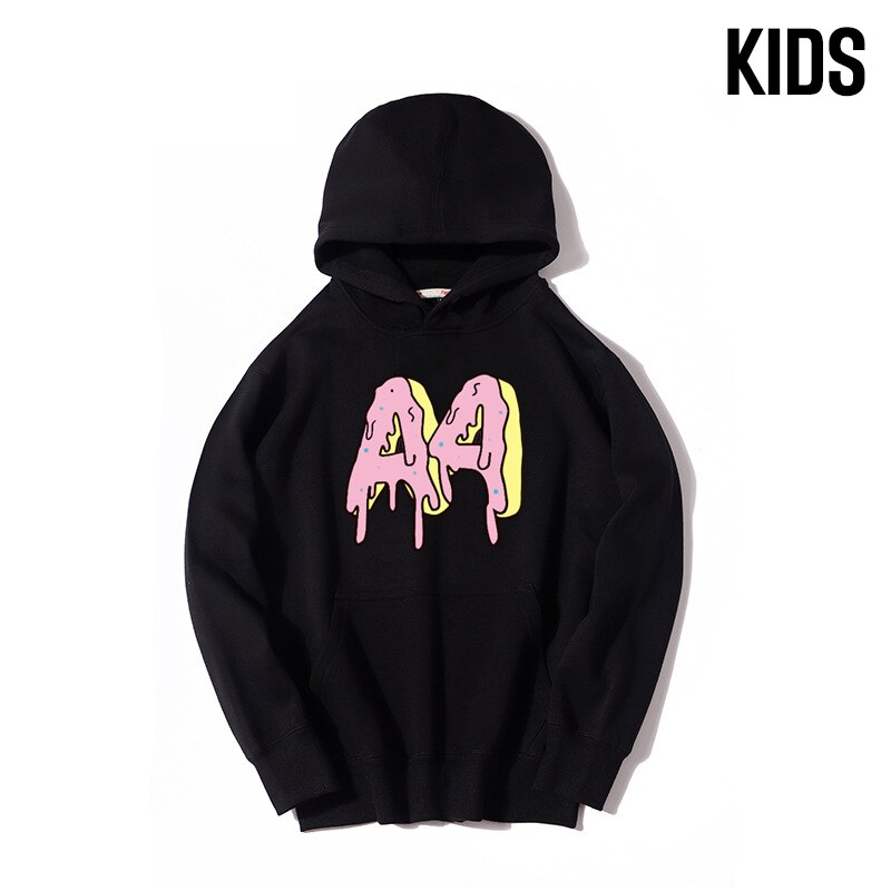 Children's A4 Donuts Hoodie Autumn Winter Family Clothing Thicked Fleece Hooded Sweatshirts Casual Parents & Kids Pullover Tops