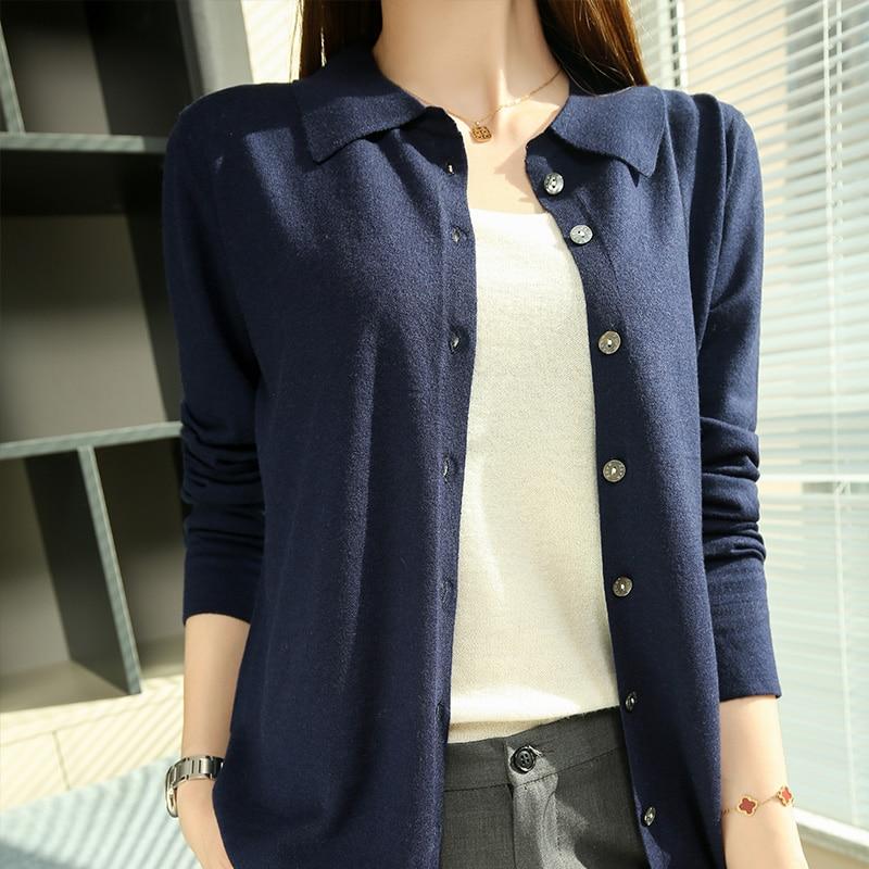 Hot Sale Women Jackets  2021 New Arrival Cardigans 100% Wool Long sleeve Knitwears ladies Shirt Collar Sweaters enlarge