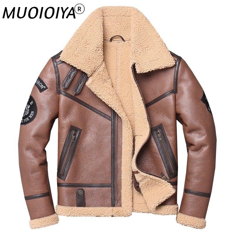 معطف شتوي رجالي جديد فاخر من جلد الغنم الطبيعي البني من المصنع موديل 2021 معاطف شتوية من الصوف متعدد الملصقات