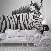 custom photo wallpaper murals hand painted black white zebra animal mural bedroom study living room wall painting papier peint