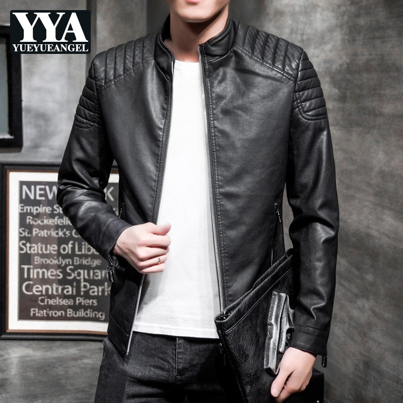 Mens Fashion Slim Fit Pu Leather Jacket Street Casual Stand Collar Zipper Short Coat Spring Autumn Black Red Biker Outerwear