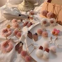winter new fashion earrings sweet cute pink pompon flower hairball geometric dangle drop earrings for girl women jewelry gift