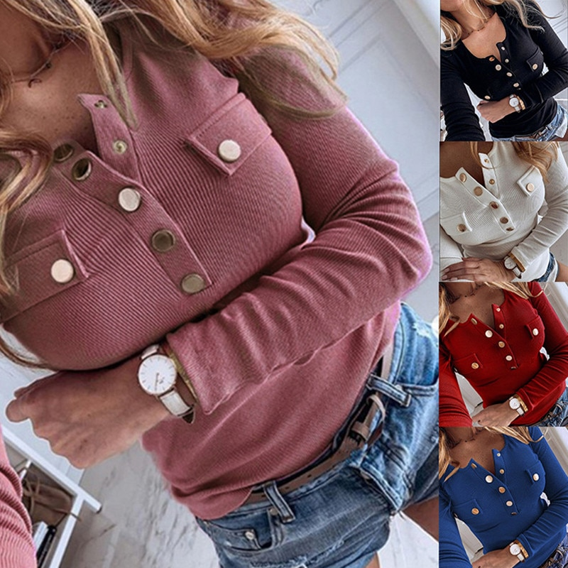 Women's Autumn Winter Knitted Sweater Tops Casual Long Sleeve Turn Down Collar Button Up Pocket Sweater Coats
