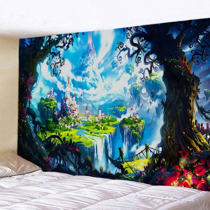 Tapiz de Castillo, tapiz de Paisaje de fantasía, tapiz de Castillo de cuento de hadas para colgar en la pared, tapiz para decoración del hogar 95x73cm / 150X130cm
