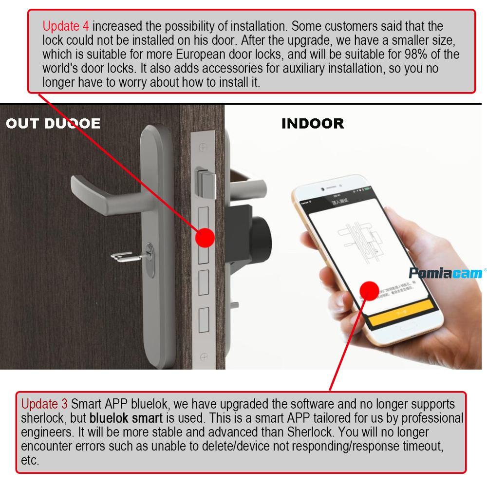 New item S3 Silver/black Bluelok Smart Door Lock Wireless Bluetooth Integrated Electronic Lock App Phone Contorl bluelok lock