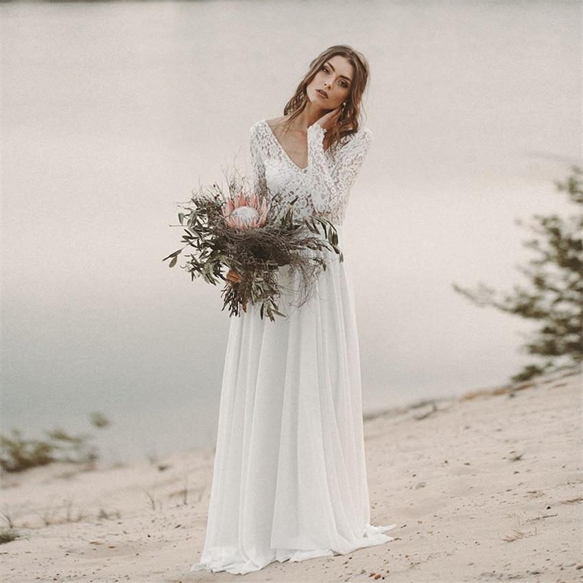 Beach Wedding Dress Long Sleeve Boho V Neck Backless Bridal Dresses 2020 Chiffon Princess Lace Chiffon Wedding Gown novia недорого