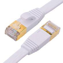 Katze-7 Ethernet Kabel 50 ft Weiß Flache mit Kabel Clips, Geschirmt RJ45 Anschlüsse, high Speed 10 Gigabit LAN Netzwerk Patchkabel Kabel,