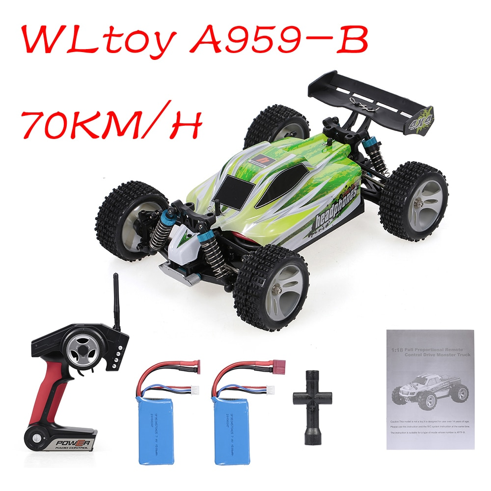 Wltoys A959-B 2 Batteries 1:18 RC Car 2.4Ghz 4WD Off-Road Car 70KM/H High Speed RC Racing Buggy Car Vehicle RTR Toys for Kids enlarge