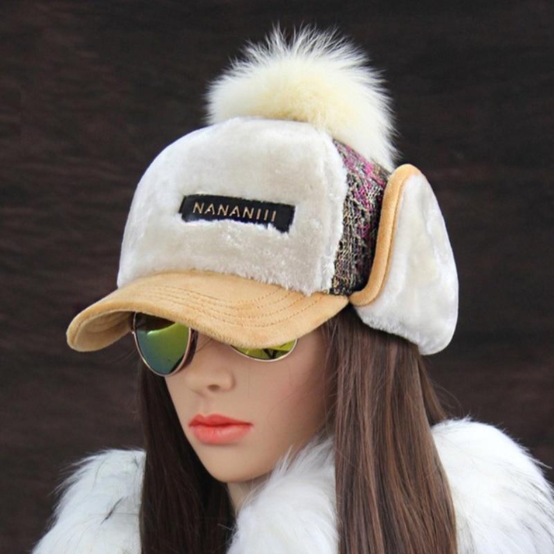 Winter Faux Cashmere Bomber Hat Women Earflap Caps Faux Fur Pompom Snow Hats Adjustable
