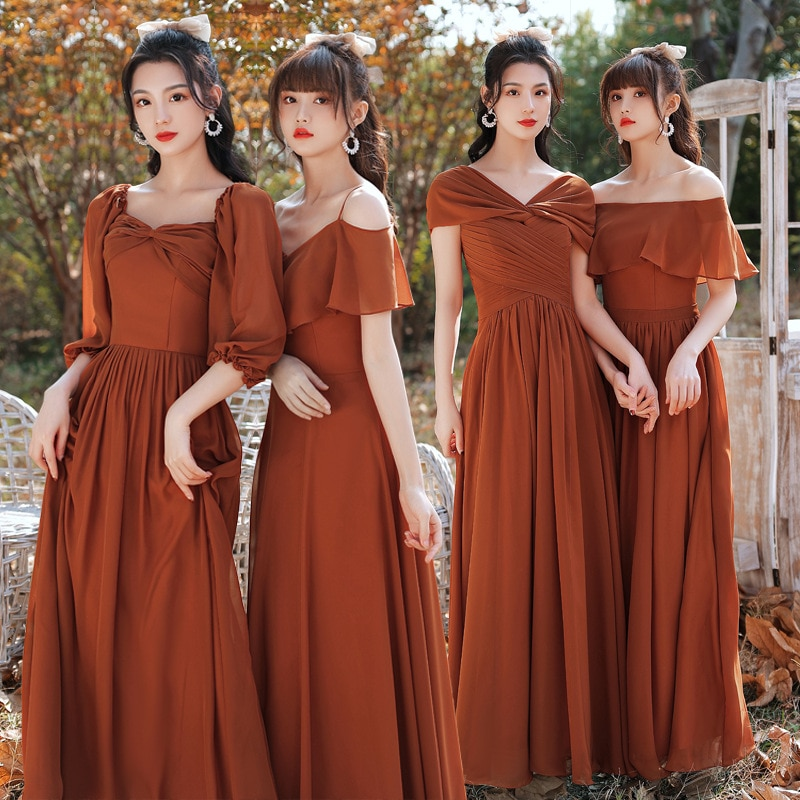 Brick Red Long Simple Bridesmaid Dress Chiffon A Line Maxi Formal Wedding Guest Party Dresses 4 Style YSAN1269