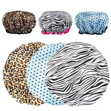 1Pc Shower Caps women towel Thick Double Layer Leopard Printing Waterproof Bath Hat Shower Hair Cove