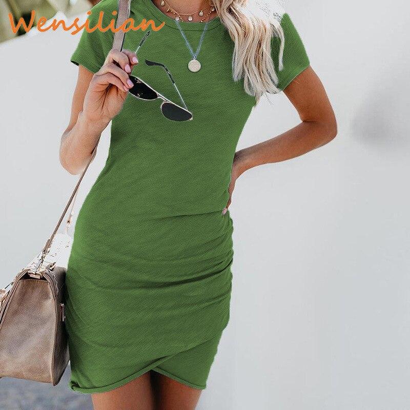 Summer Mini Bodycon Sexy Dress Short Sleeve Casual Jurken Beach Sundress Dresses Plus Size Ladies Robe Femme Vestido Mujer 2020
