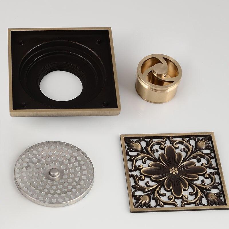 Купить с кэшбэком Floor Drain Antique Brass Square Bathroom Shower Sink Floor Waste Grates Drainer Strainer Linear Covers Tile Insert