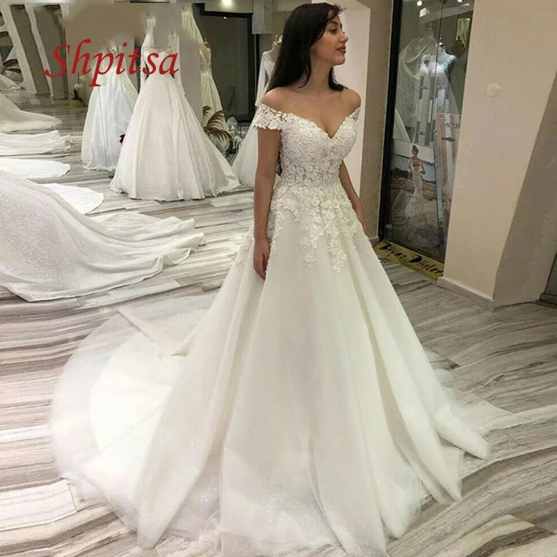 Get Elegant Lace Wedding Dresses A Line Tulle Plus Size White Ivory Women Girl African Sexy Weeding Off Shoulder Bride Bridal Dress