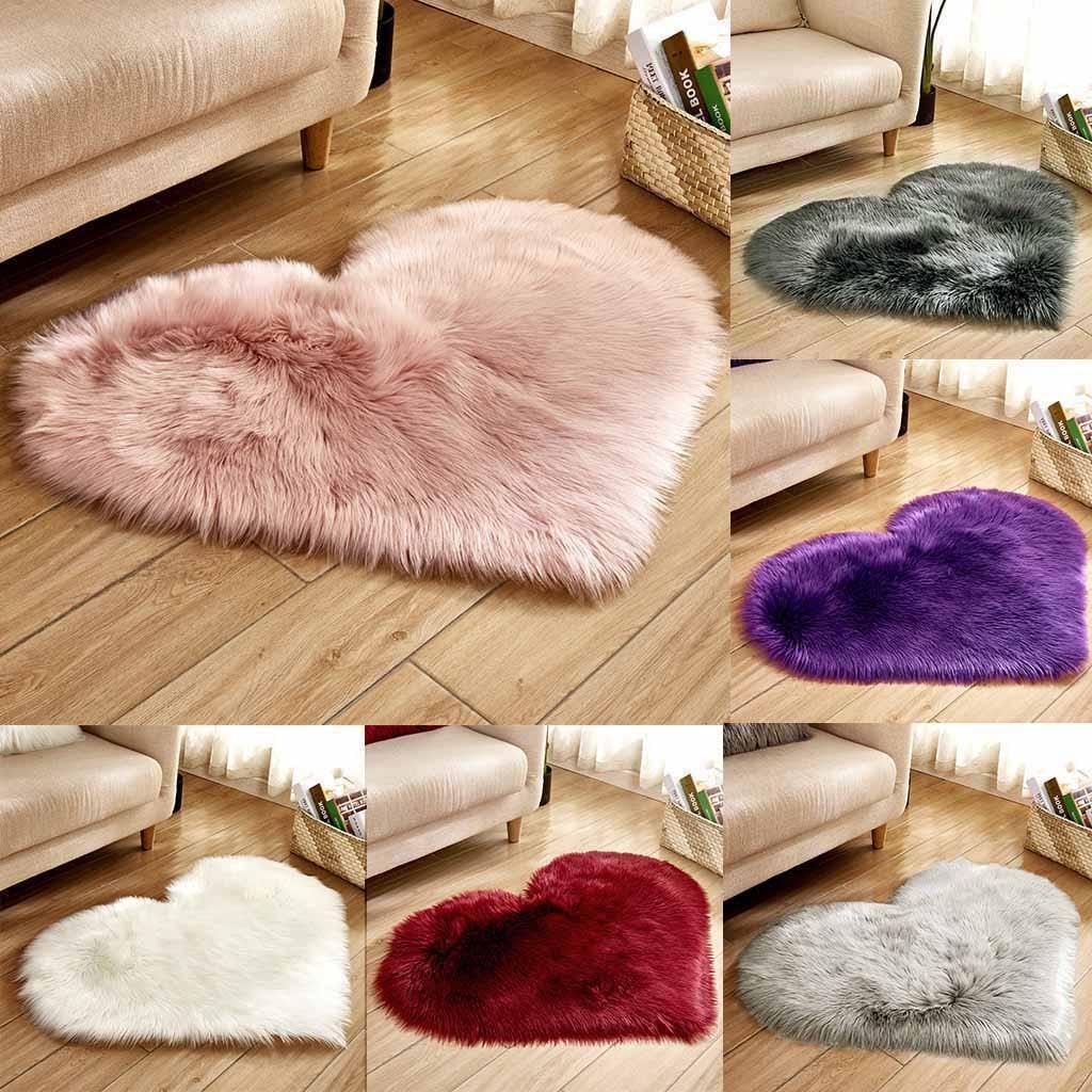 Alfombra de dormitorio peluda alfombras de corazón nórdico para sala de estar color liso esponjoso para decorar el Hogar Moderno largo piel sintética de pelo alfombras