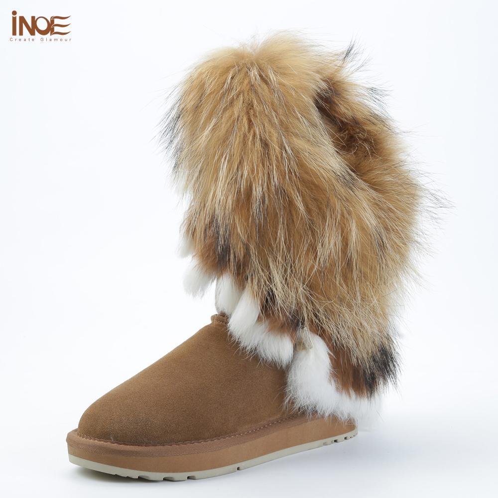 INOE موضة الثعلب الفراء امرأة الركبة عالية جلد البقر المدبوغ الشتاء الأحذية ل lidie الثلوج الأحذية أرنب الفراء شرابات الدفء الأحذية