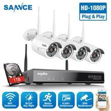 SANNCE Wireless CCTV System 1080P 1TB HDD 8CH NVR IP IR-CUT outdoor CCTV Kamera IP Security System video überwachung Kit