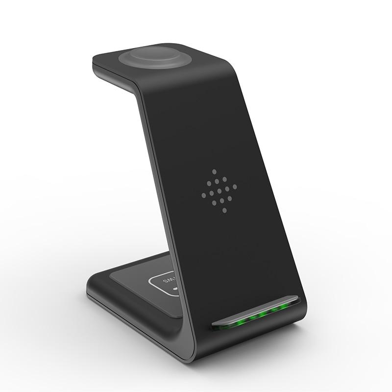 شاحن لاسلكي QI 3 في 1 لهواتف آيفون 11/XS/X/Airpods pro/Iwatch 5/4 حامل شحن لاسلكي سريع للشحن لهواتف سامسونج S10/Bud/Watch