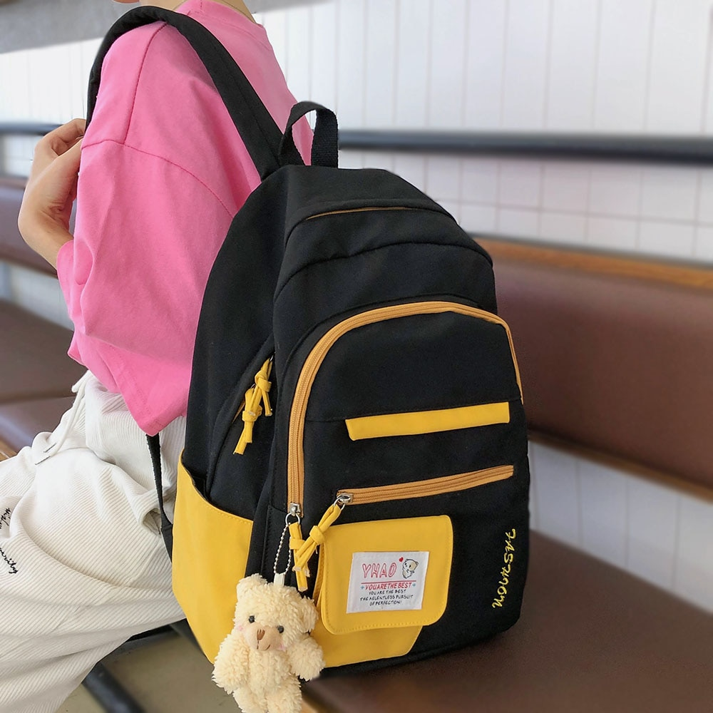 Menina à prova dwaterproof água náilon mochila estudante feminino saco de escola portátil bonito senhoras harajuku mochilas feminino kawaii livro moda saco novo