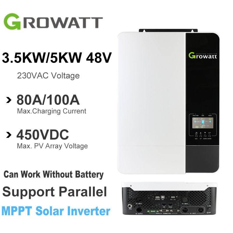 Growatt عاكس شمسي هجين 3.5/5KW 220VAC 48VDC MPPT 80A/100A موجة جيبية نقية Inversor 50/60Hz يمكن أن تعمل دون بطارية