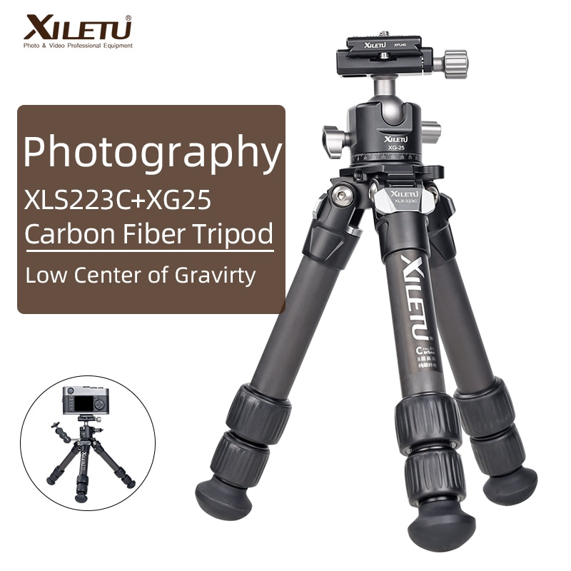XILETU خفيفة الوزن مستقرة من ألياف الكربون ترايبود ث 360 درجة دوران انفصال الكرة رئيس شوّاية منضديّة صغيرة حامل ل كاميرات رقمية DSLRS