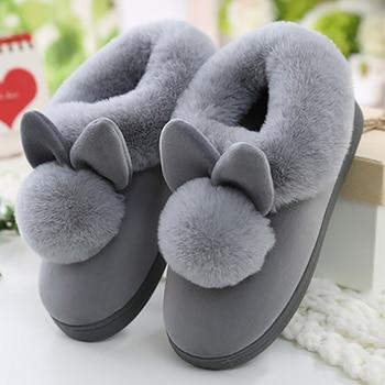 Женские зимние тапочки; Бархатные зимние женские тапочки; Домашняя обувь; Повседневная женская мягкая удобная обувь; Женские пушистые плюшевые тапочки с заячьими ушками