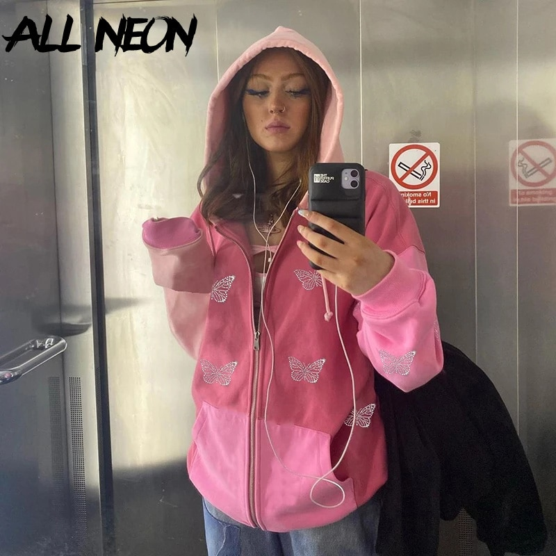 ALLNeon 90s Streetwear Butterfly Print Rhinestone 2 Piece Tracksuits Y2K Fashion Oversized Zippper Hoodies Sweatpants Co-ord Set vintage floral print co ord with frill detail