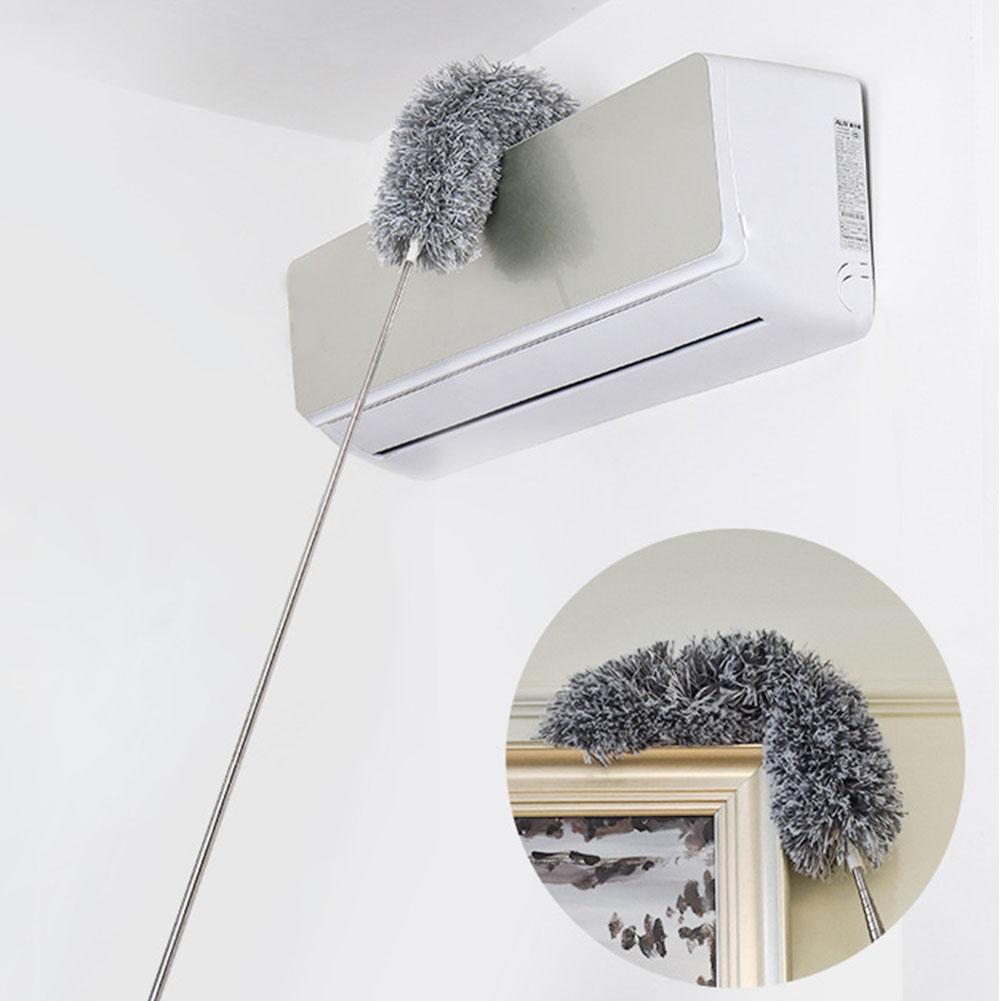 Cepillo flexible de fácil aplicación mango largo estático extensible plumero lavable de acero inoxidable Limpieza de techo extensión telescópica