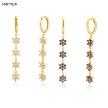 ANDYWEN 925 Sterling Silber Blume Sechs Zirkon Tropfen Ohrring 8,5mm Frauen Mode Luxus Schmuck Hochzeit Kristall Juwelen Rock Punk